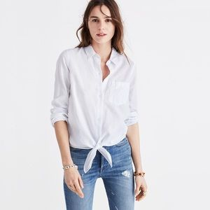 Madewell button down blouse with tie front xsmall